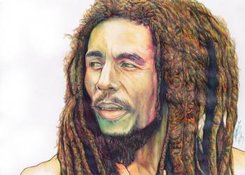 Bob Marley Ballpoint Pen Drawing by demoose21