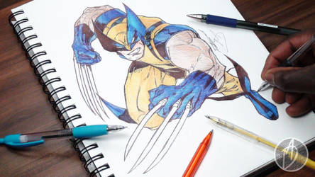 Wolverine Ballpoint Pen Drawing - DeMoose Art by demoose21