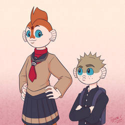 Koi-chan and Fugu-kun by TyScope