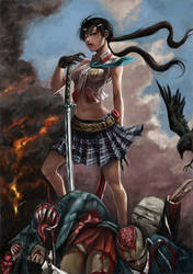 Zombie killer Saki by shonensan