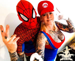 Spiderman and Super Mario by mrswhitetrash