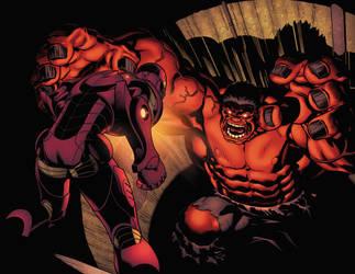 Red Hulk vs Iron Man by xXNightblade08Xx