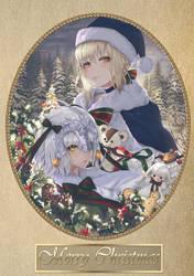 Santa Lily and Santa Alter by FoxieCSC