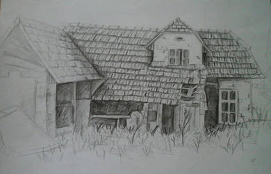 Ruined house - Plain-air Drawing by moveslikejeager11