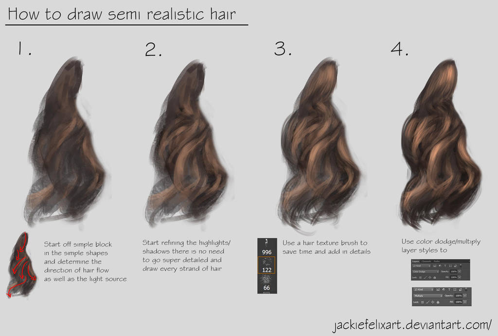 how to draw semi realistic hair tutorial by jackiefelixart on deviantart