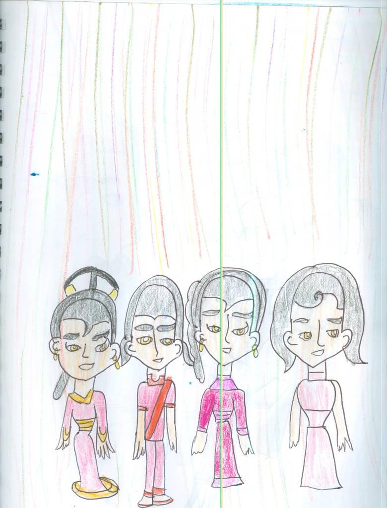 Kishi, Kami, Rei, Saura as children by Kelseyalicia