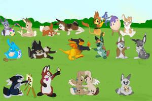 Easter Bunnies hop hop hop by Davuu