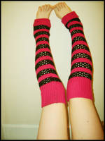 Pink Striped Legwarmers by Red--Roses
