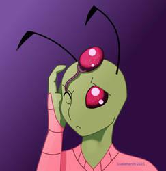 Invader Zim has head eyeballs by snakehands