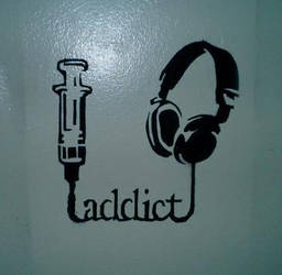 headphones stencil by negativepositive