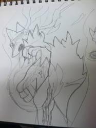 Rough sketch of Mega Lucario by Raethien