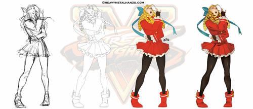 Street Fighter V-Karin Process by HeavyMetalHanzo