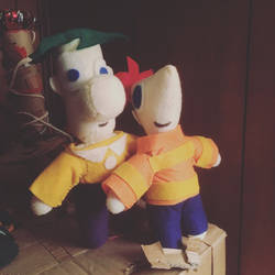 Phineas and Ferb plush  by clock-guy