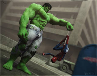 Hulk vs Spidey2 by RawArt3d