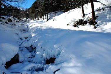 Stream Under Snow by Darjeell