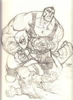 Team Deadpool Pencils by arsenalgearxx
