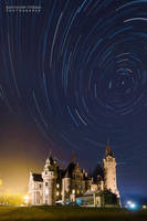 Startrails over Moszna Castle by Dybcio