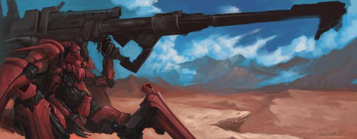 Red_Mech_BIG_GUN by zombie-ninja