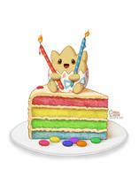 Togepi Rainbow Cake by daisyein
