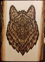 Woodburning - Ornate Wolf by Stepher17