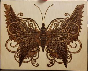 Woodburning - Ornate Butterfly by Stepher17