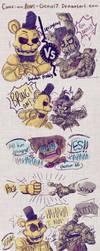 =FNAF= Goldie vs Springtrap (comic) by Amel-Genius17
