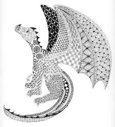 Zentangle Dragon by KiusLady