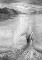 Lady of the Lake - grayscale by Nerubia