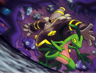 Grovyle and Dusknoir Surrounde by FireF4lcon