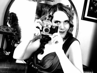 Sally Behind the Camera Black and White 1 by godsmistake