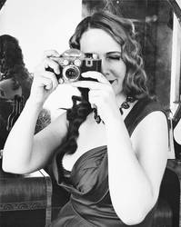 Sally Behind the Camera Black and White 3 by godsmistake