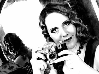 Sally Behind the Camera Black and White 4 by godsmistake