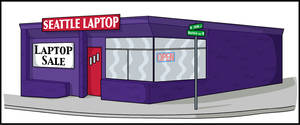Seattle Laptop Storefront by Dragavan