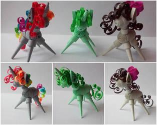 Quilling 3D - Krylone, Pisty and Aggie (MLP OCs) by RzymonZPapieru