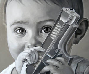 Kid with a gun by Bernardumaine