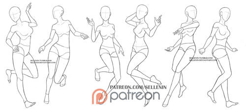 Patreon female poses by Sellenin