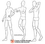 Pose set 6 - male standing poses! by Sellenin