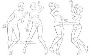 Female dance poses by Sellenin