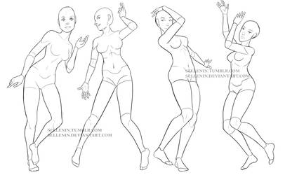 Female dance poses by Sellenin
