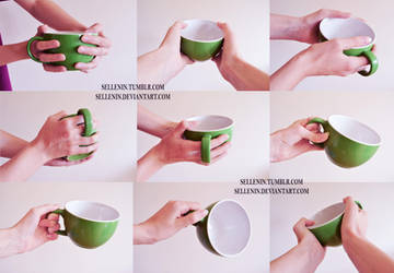 Hands reference 4 - cups by Sellenin