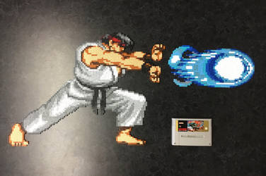 Ryu Performing Hadouken Hama Bead Sprite Art by Dogtorwho