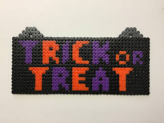 Trick Or Treat: Hama Bead Pixel Wall Sign by Dogtorwho
