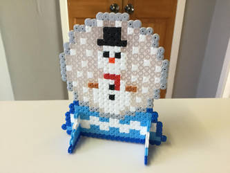 Christmas Hama Bead Pixel Snowman in Snowglobe by Dogtorwho
