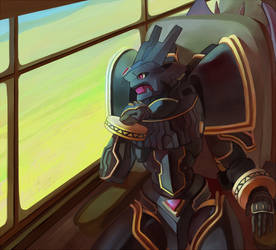 Gift: Alphamon on a train by J3rry1ce