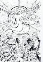 TMNT ghostbusters cover inks by TonyKordos