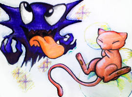 Haunter and Mew by Punkstatik