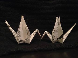 two standing cranes by Sadakocranes