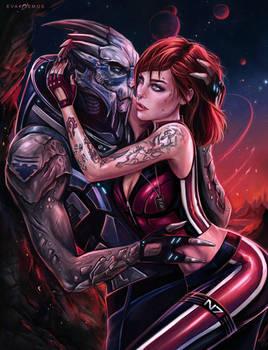 Shepard and Garrus Mass Effect by EvaKosmos