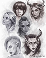 Sketch of persons by EvaKosmos