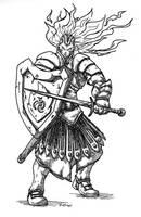Yuriel, genasi warlord by peachyco